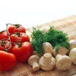 Mushrooms in pumpkin oil and seasoning herbs